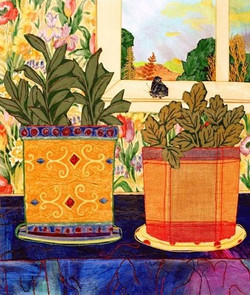 Potted Plants and Butterfly