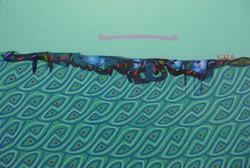 2013 canoa suspendida sobre una ola de plasticos 24X36.JPG