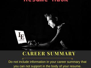 Resume Hack of the Week: Career Summary