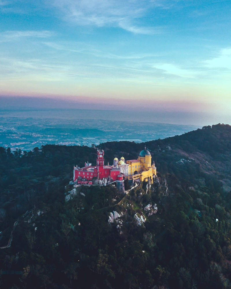 Pena Palace on top of the mountain in Sintra, Portgual