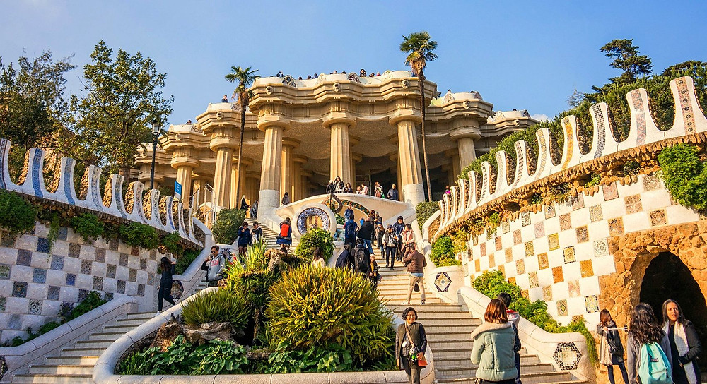 view of the Hall of Columns and mosaic work in Park Güell