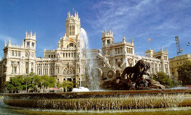 The Capitol building and fountain in Madrid, Spain.