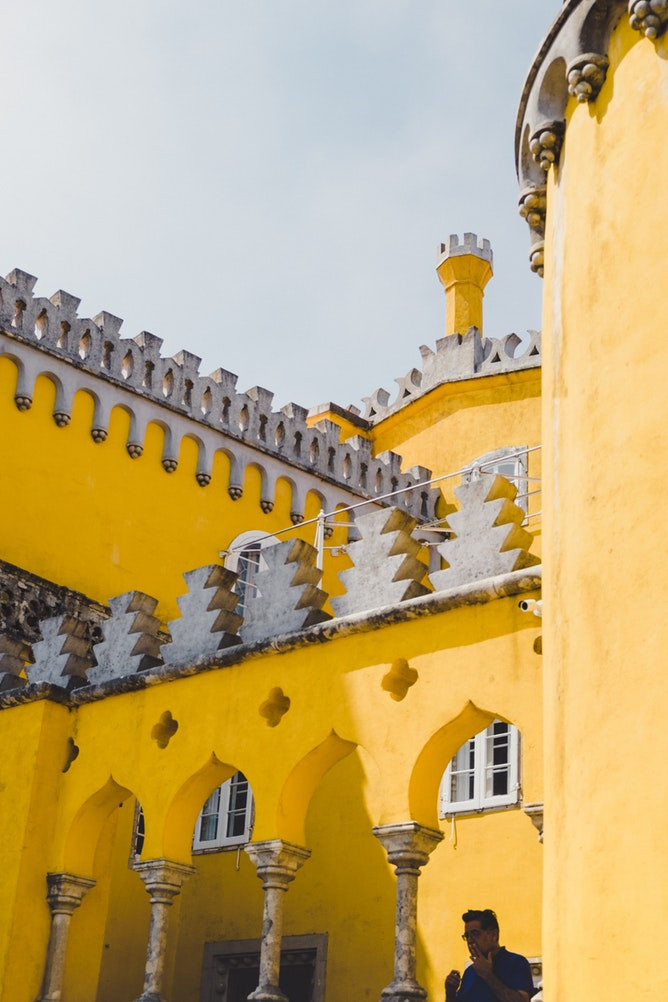 Close up view of the ornate and vivid Pena Palace in Sintra, Portugal