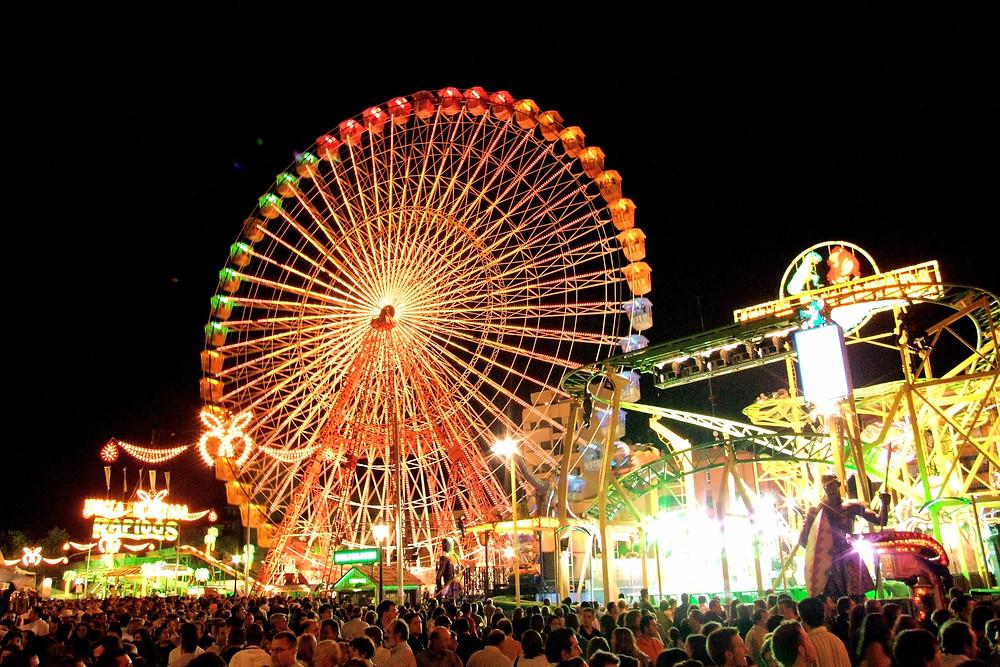 Malaga Feria Ferris Wheel at Night