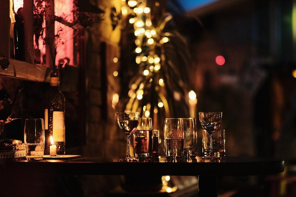 A quiet low-lit bar in Barcelona