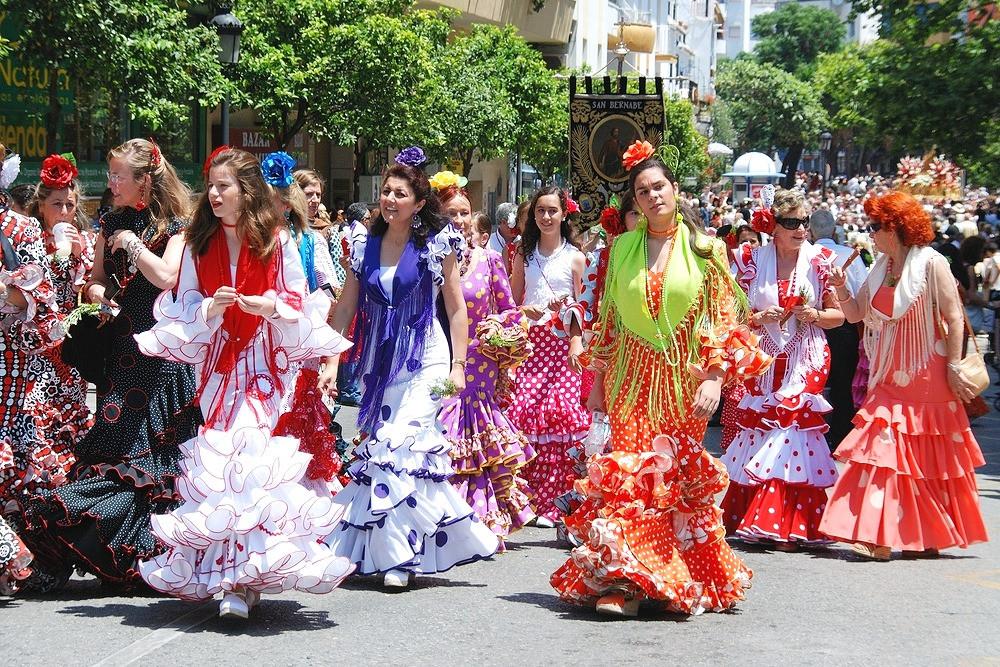 Flamenco dresses at the Malaga Feria