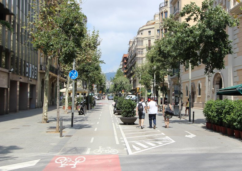 Carrer d'Enric Granados and some of its greenery