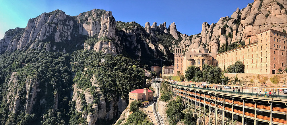 Ground view of the Monastery and funicular rail tracks in Montserrat