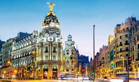 Gran Via in Madrid, Spain.