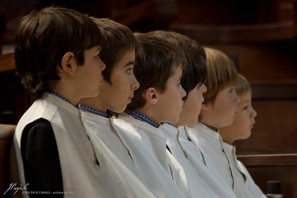 Choir boys from the Escolania in uniform in Montserrat