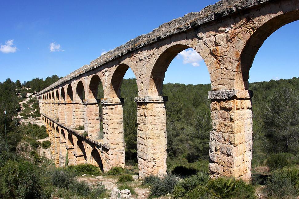 Les Ferreres Aqueduct's arches in Tarragona, Spain