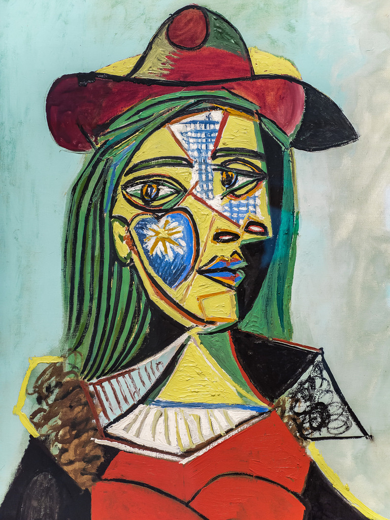Depiction of Pablo Picasso's classic cubism style painting