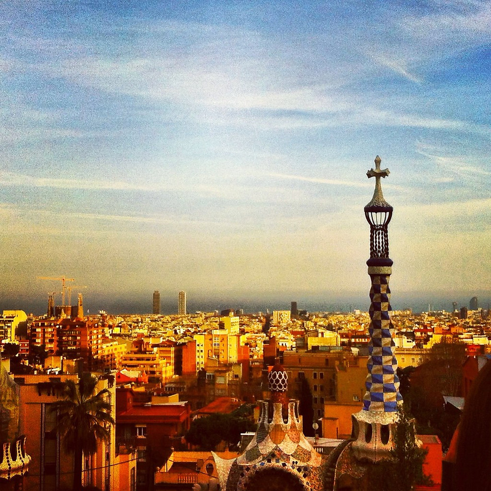 View from Park Güell during sunset