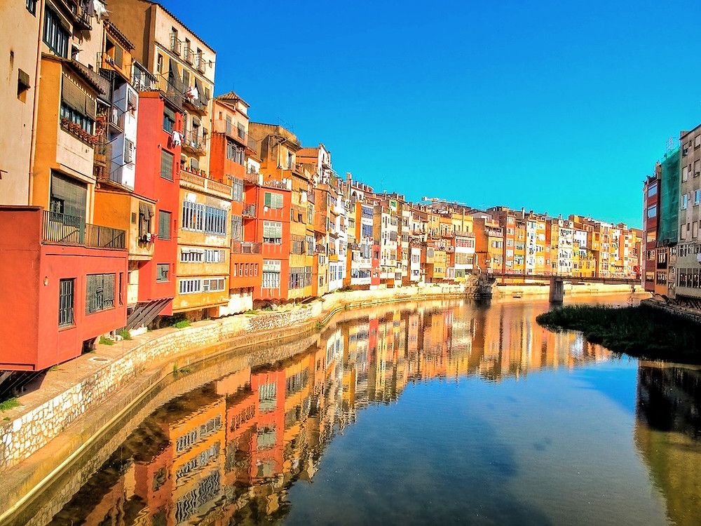 Girona's colorful buildings