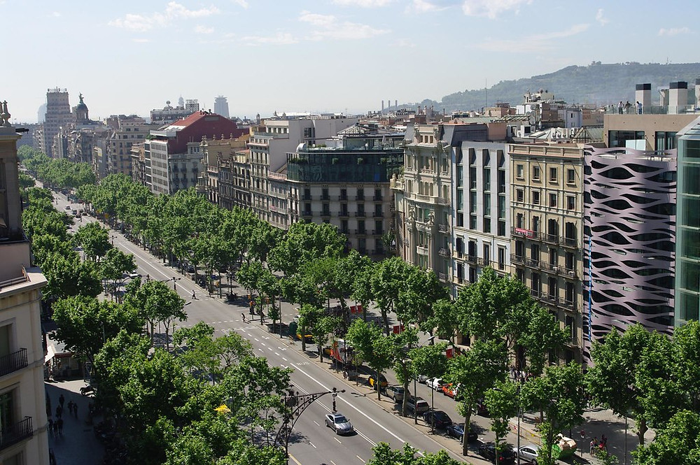 View from above of Passeig de Gràcia in Barcelona for shopping
