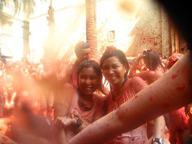 Painting the town red during La Tomatina in Spain