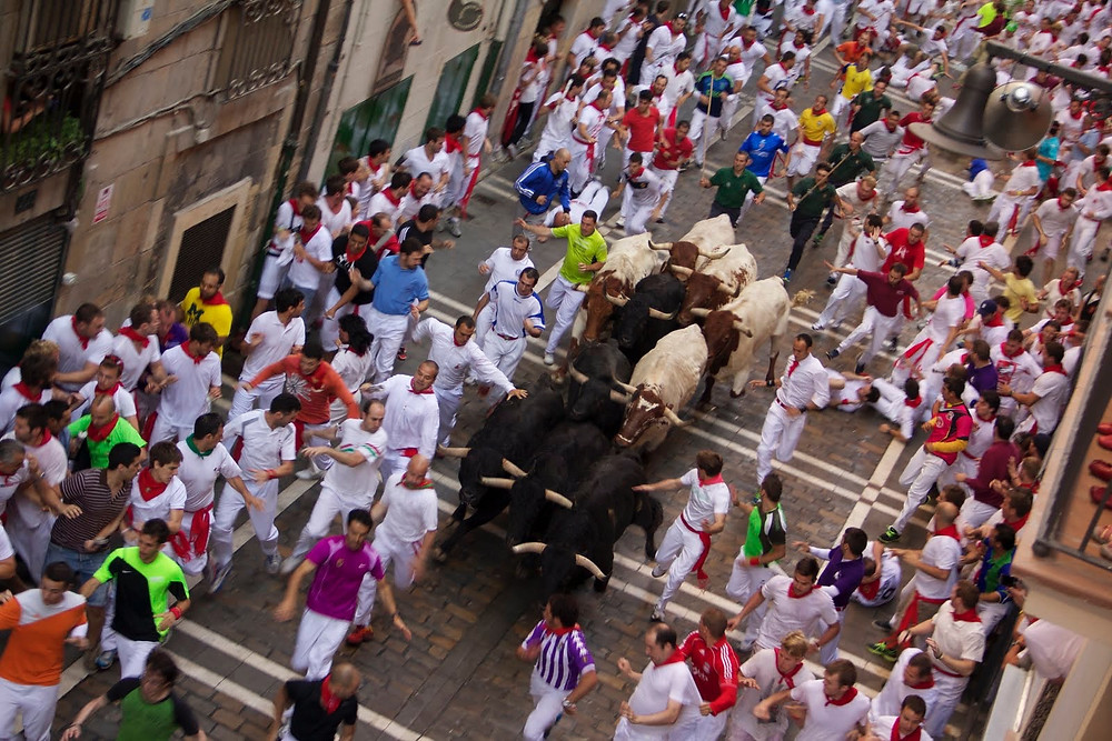 Running of the Bulls in the streets of Pamplona