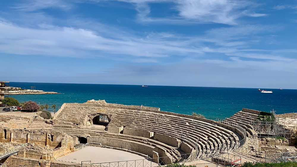 The Tarragona Amphitheatre by the sea in Spain