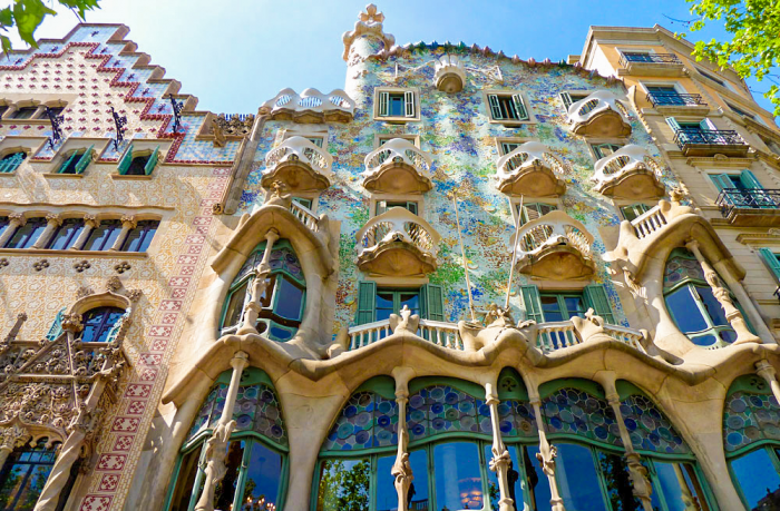 Looking up at Casa Batlló from the outside, located in the center of Barcelona.