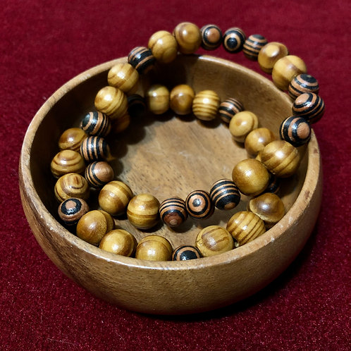 Wood Beaded Bracelet - HANDMADE