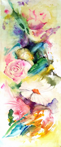 Watercolours on canvas.