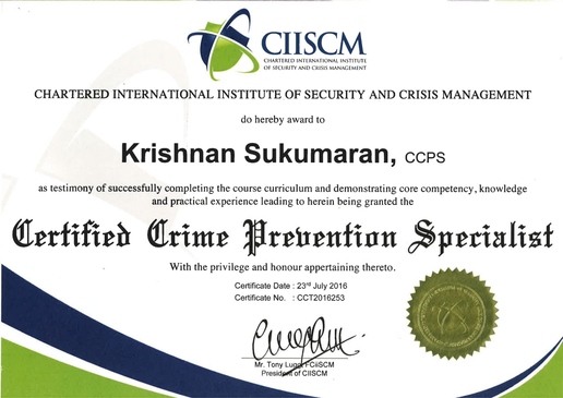 CIISCM- CERTIFIED CRIME PREVENTION SPECI