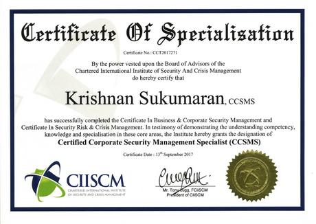 CCSMS Certificate (Certified Corporate S