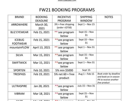 REVISION - FW21 BOOKING DEADLINES - Sporten revised booking deadline - February 10, 2021