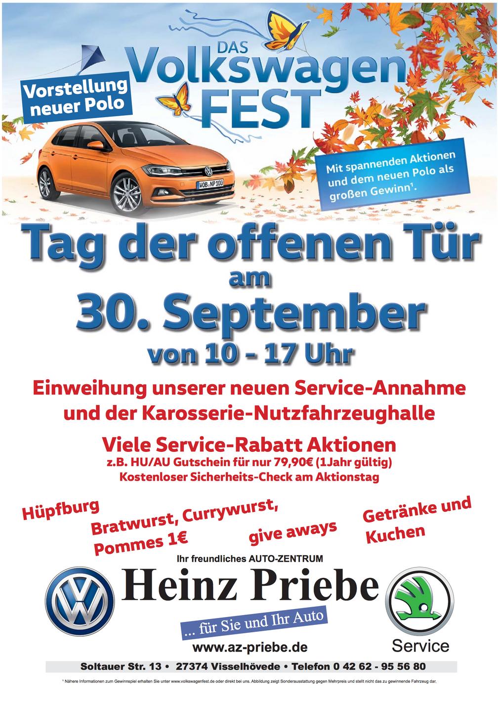 Das Volkswagenfest: Tag der offenen Tür am 30.09.2017