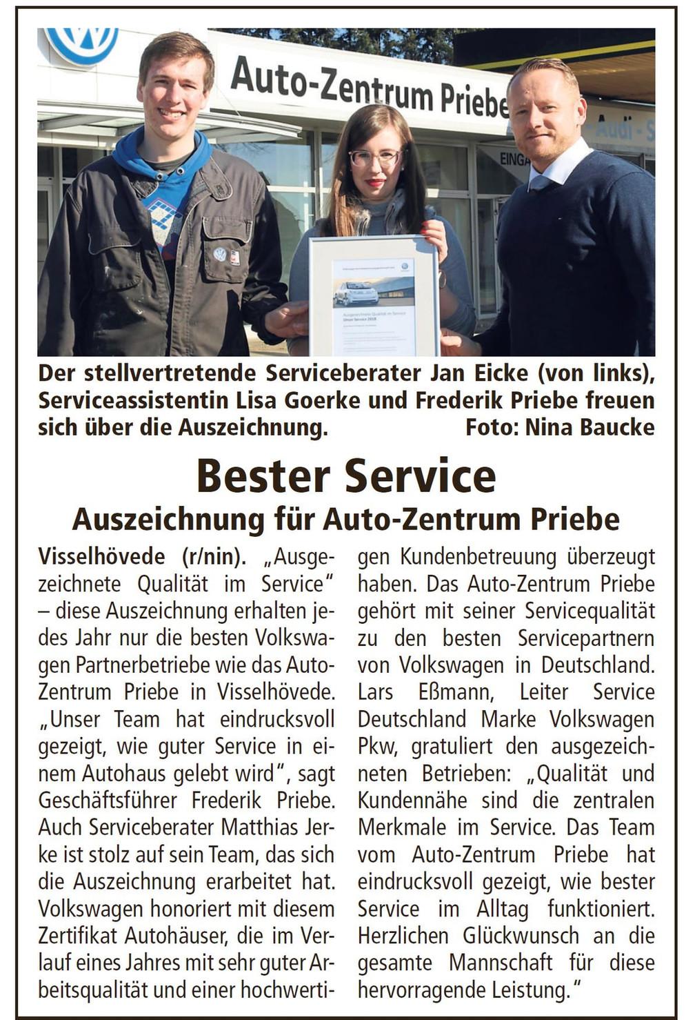Bester Service: Auszeichnung für das Autozentrum Priebe