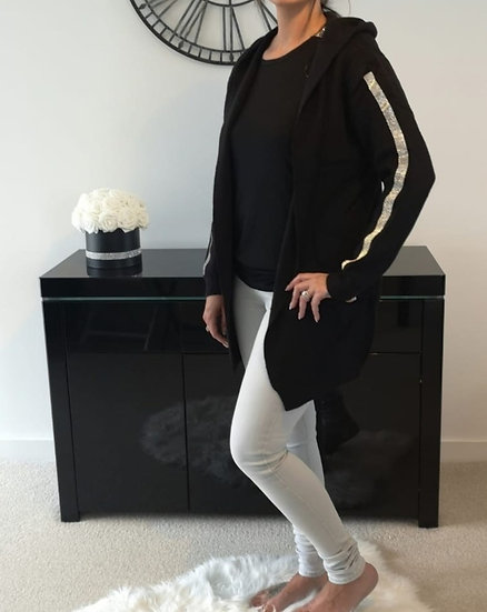 Hooded Bling Sleeve Cardigan