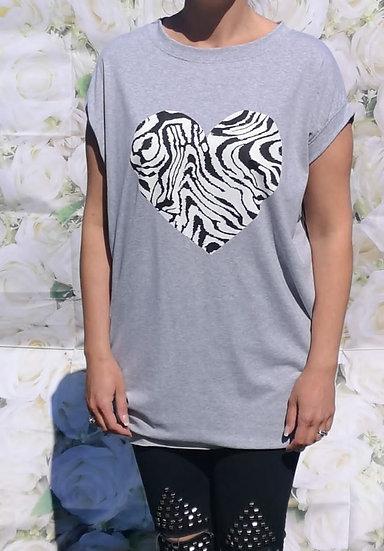 Heart Zebra Print T-Shirt