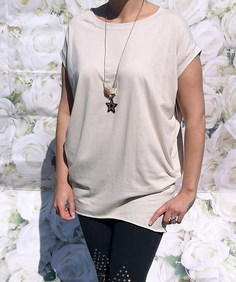 Oversized Plain T-Shirt with Necklace