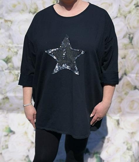 Star Sequin Oversized Top