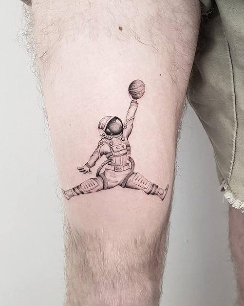 SPACE JAM 🏀☄ by @noamyonatattoos . . .
