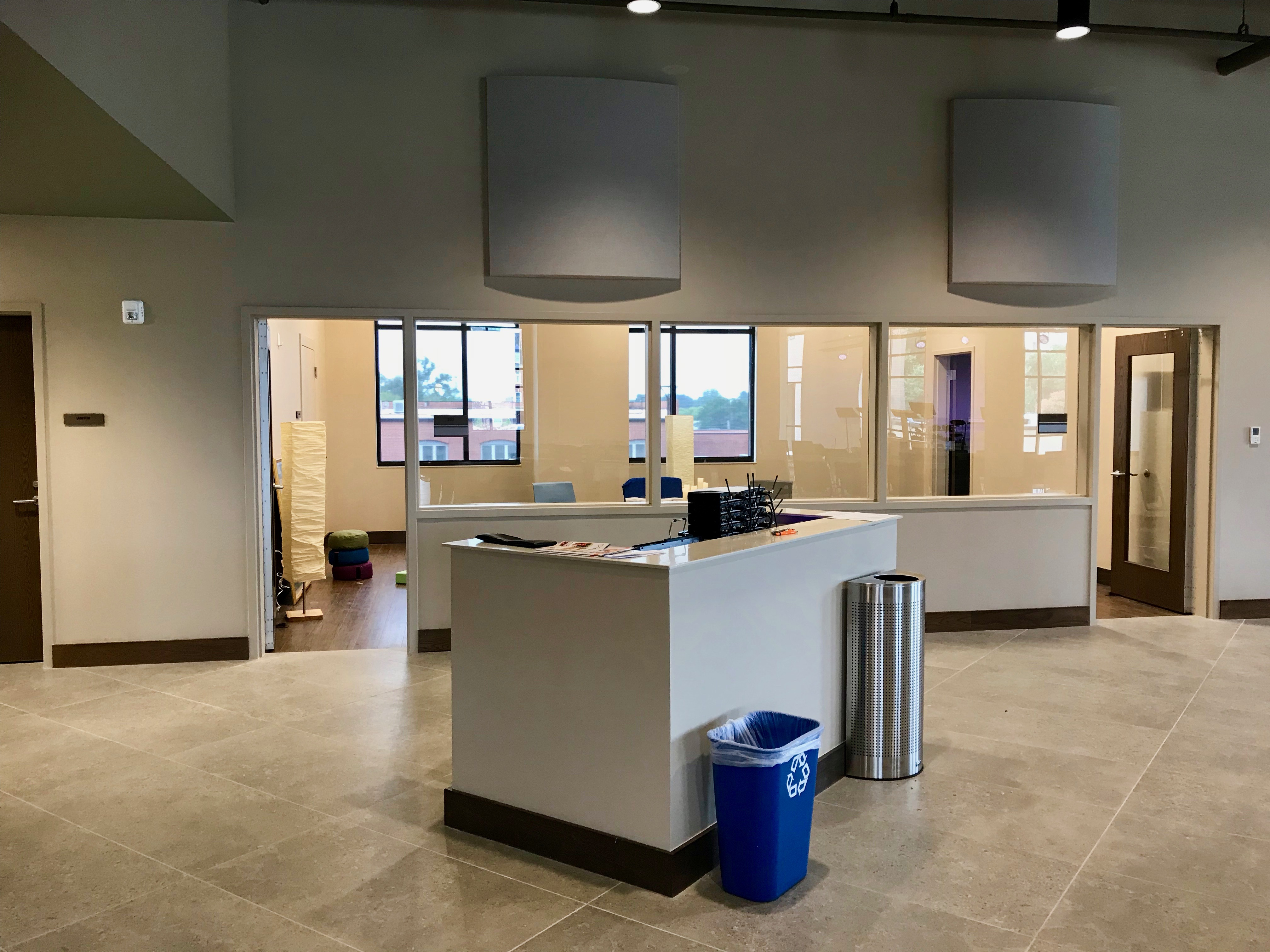 Meeting rooms behind the worship area