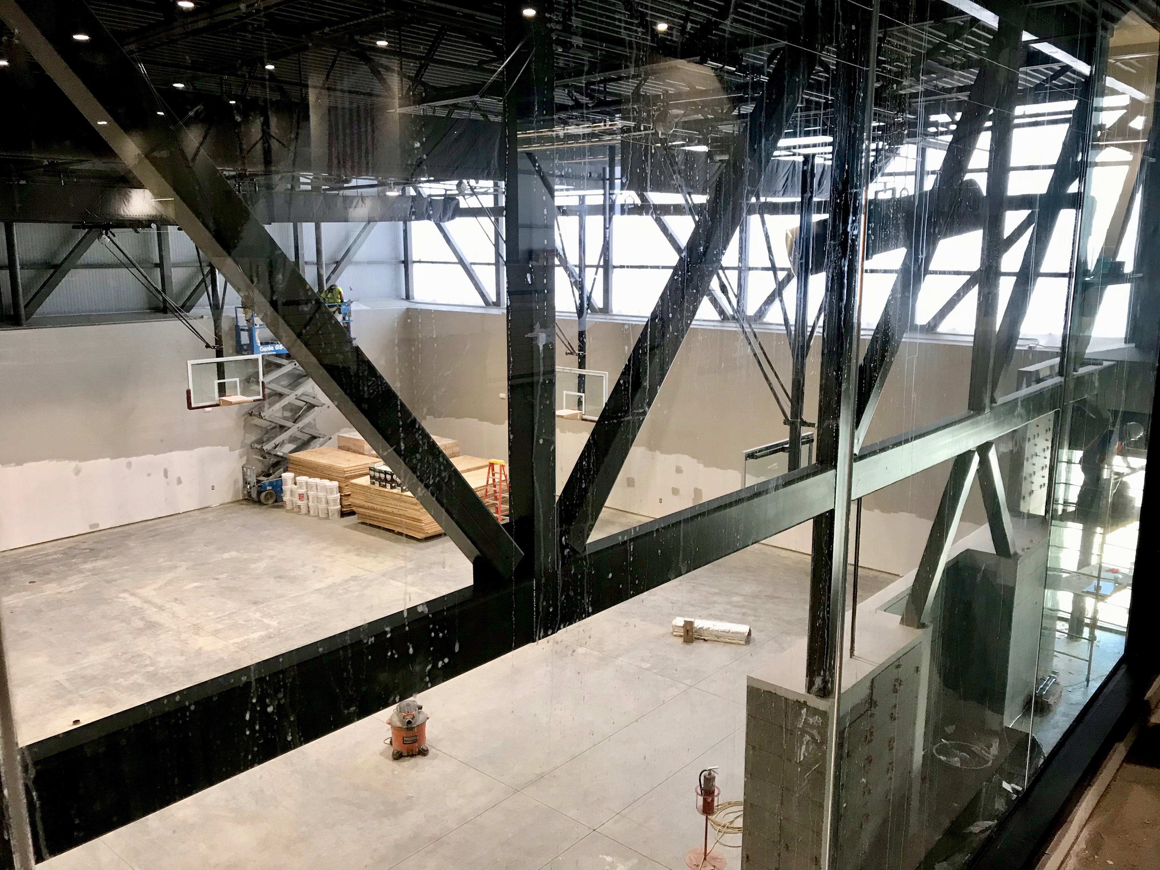 Concourse view, practice gym