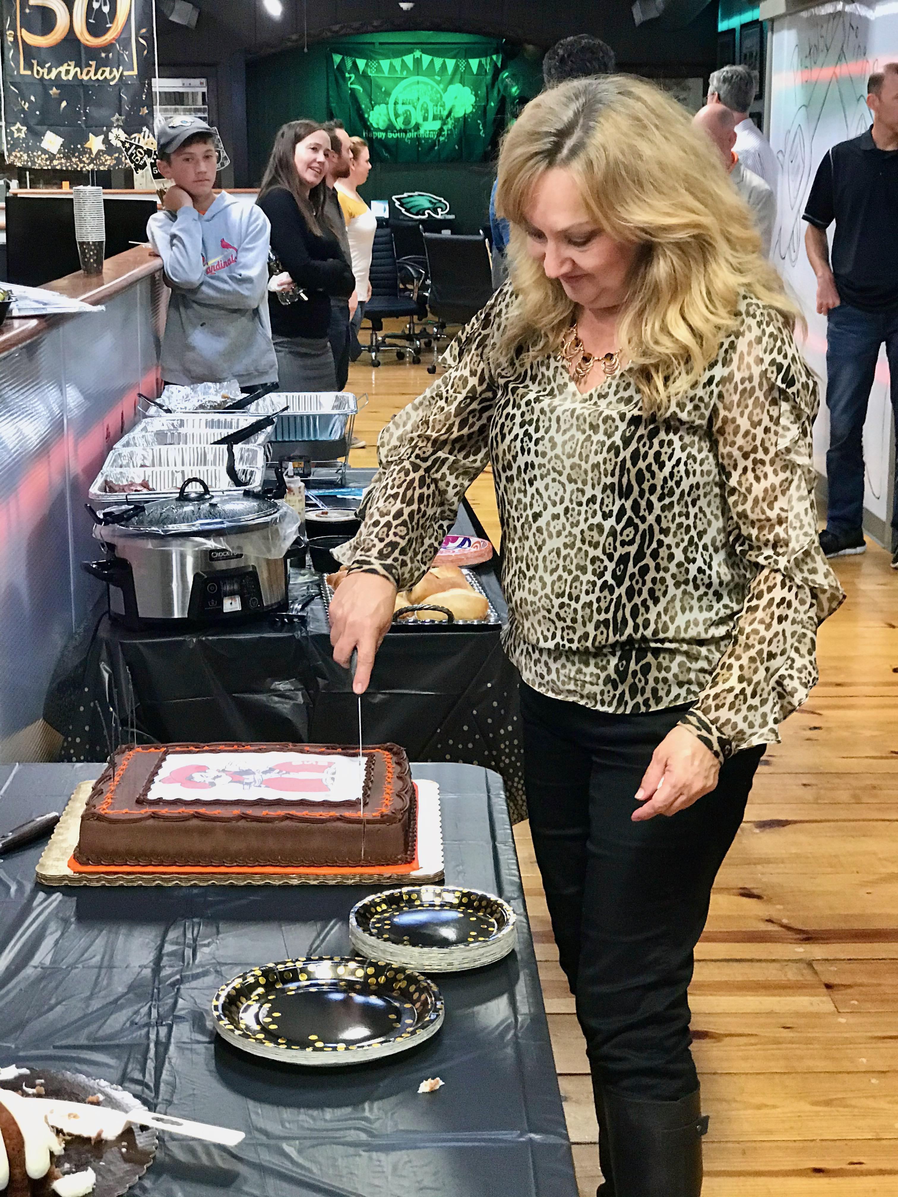 Cutting the birthday cake!