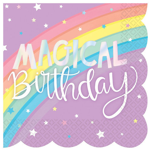 Magical Rainbow Birthday Scalloped Hot Stamp Beverage Napkins 16ct