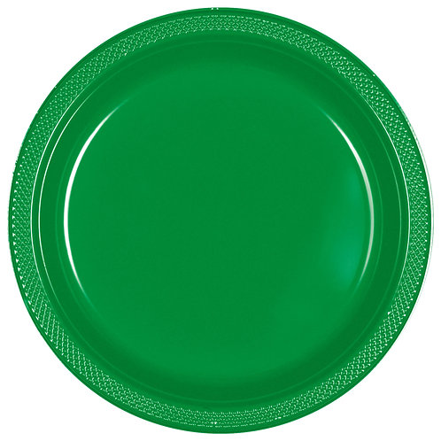 Green 9in Plastic Plates 20ct