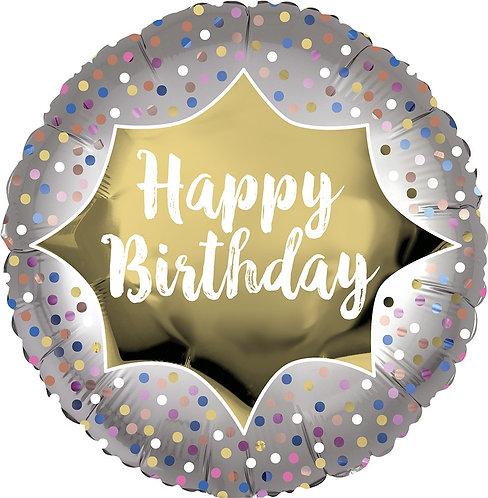 #338 Birthday Satin Gold Burst 18in Balloon