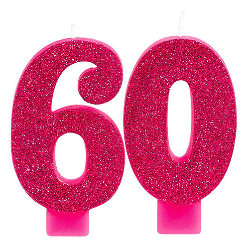 Pink and Gold Milestone 60 Numeral Candles
