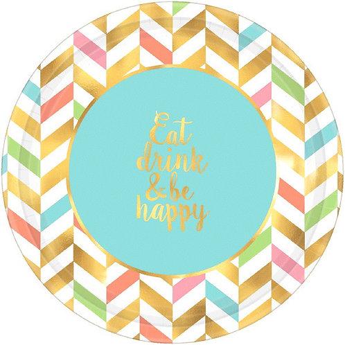 Eat, Drink & Be Happy! Metallic Round Dinner Plates 8ct