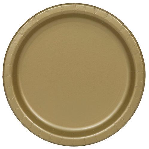 "Gold Round 9"" Dinner Plates 16ct"