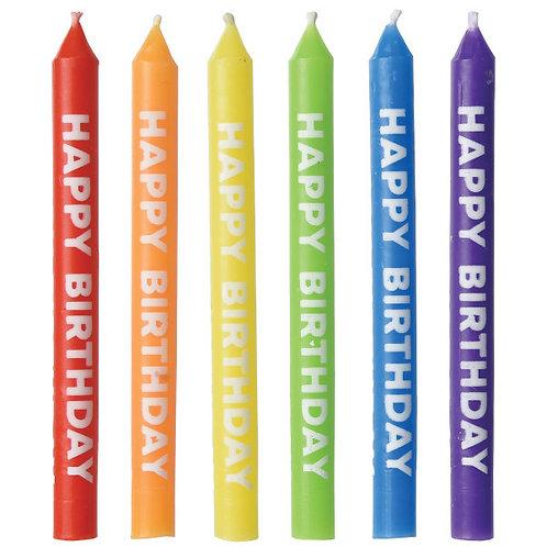 Rainbow Happy Birthday Candles 12ct