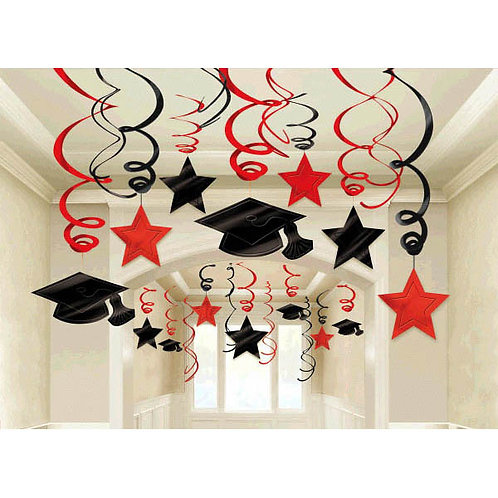 Apple Red Hanging Foil Swirl Decoration Mega Value Pack