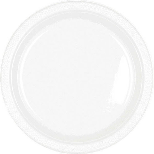 White 7in Plastic Plates 20ct