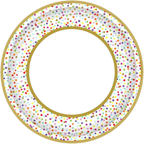 Rainbow Confetti 10.5in Plates - 18ct