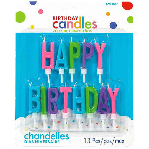 Happy Birthday Letter Candles - Brights 12ct