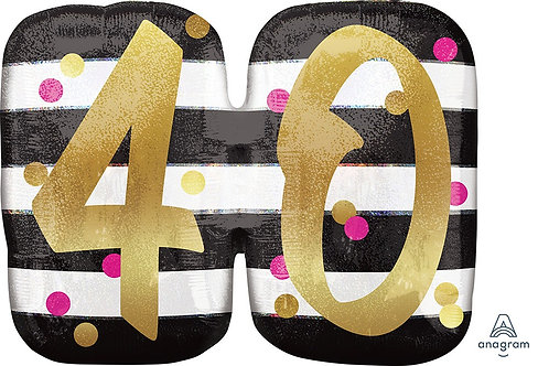 Pink and Gold Milestone 40 25in Mylar Balloon